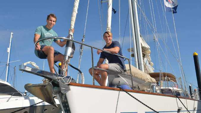 ALL ABOARD: Ben and Sam Pearson, who are competing in the World ARC, are enjoying their stopover at Mackay Marina.
