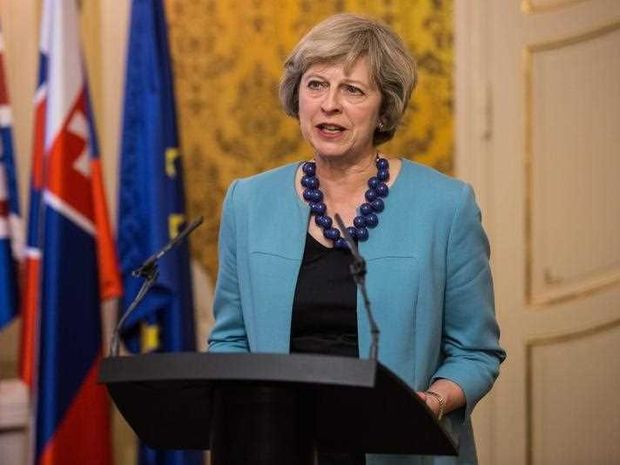 British Prime Minister Theresa May speaks during a joint press conference with Slovakian Prime Minister Robert Fico, during her visit in Bratislava, Slovakia, 28 July 2016. Her visit is part of a whirlwind diplomacy tour of EU states following the UK's Brexit vote.