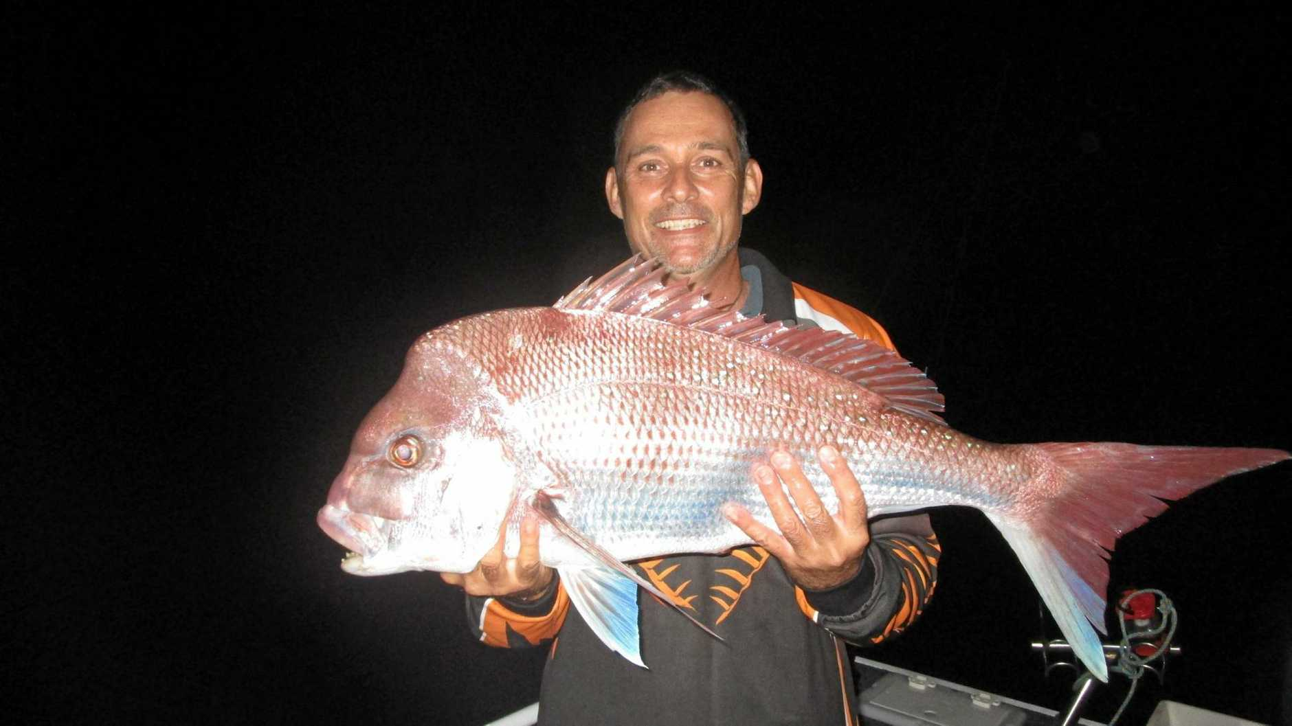 Ivan Cornwell caught his biggest snapper this season. It went 85cm and was just over 7kg before being released.Photo Freedom Fishing Supplies