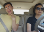 Mum driver heroically ignores hilarious lip-syncing son