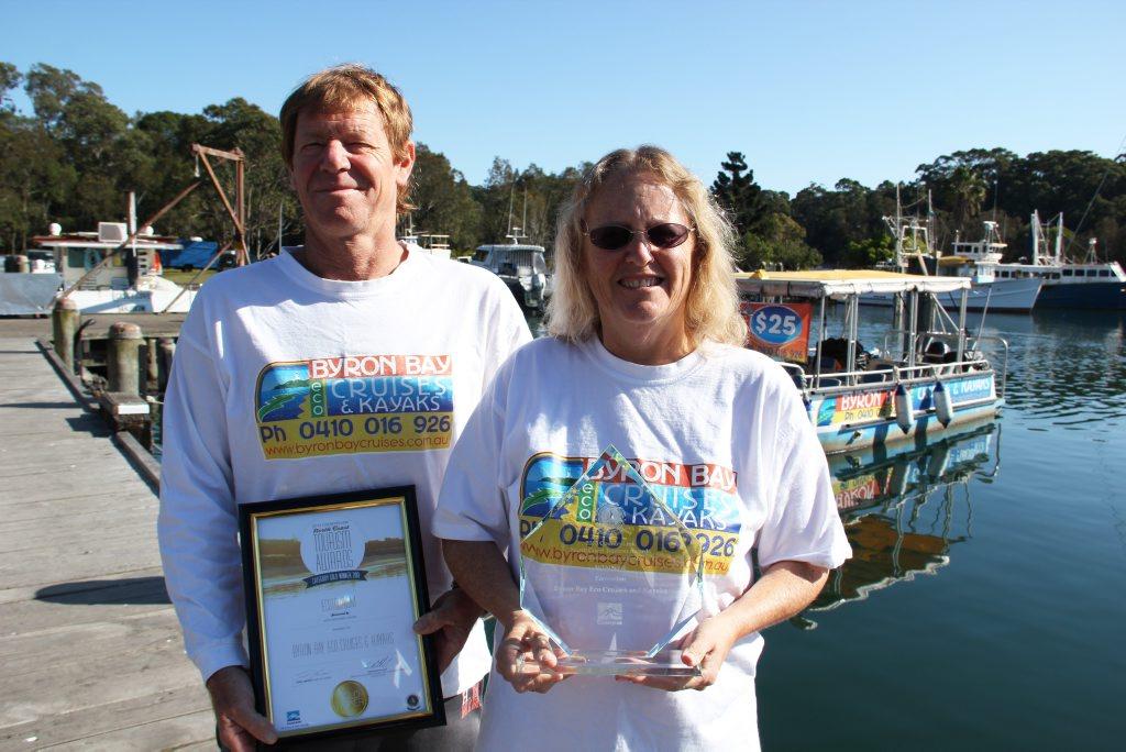 WINNERS: Simon and Lorraine Freeden from Byron Bay Eco Cruises & Kayaks. Photo Veda Dante.