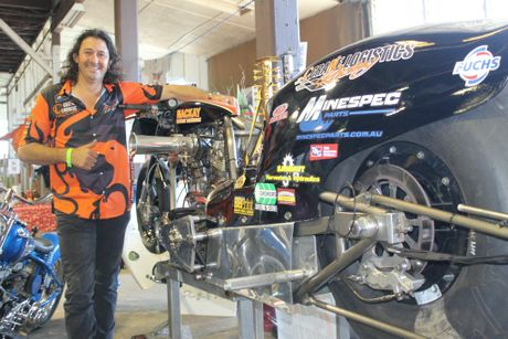 Damian Muscat with his award winning Top Fuel Nitro Harley at the All Bike Show.