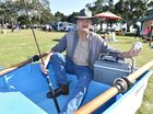 Volunteer Marine Rescue Reel Buoys Toys buy, sell and swap day at Seafront Oval. Bob Bosanquet from Pacific Haven and his 2.5m tender that has two oars power.