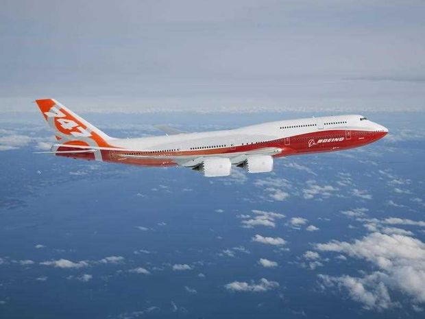 A handout photo provided on 20 March 2011 shows Boeing's newest airplane, the 747-8 Intercontinental, conducting its first test flight over Washington State, USA, on 20 March 2011. The airliner will seat 467 passengers.