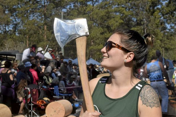 Ashleigh Heath after she made it into the 300mm Underhand Handicap Final at the Glenreagh Timber Festival wood chop.