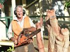 Hervey Bay Historical Village and Museum - Xmas in July. Keith Gall halfway through his sculpture.