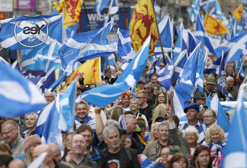 Thousands of people take part in the 'All Under One Banner' march for Scottish independence through Glasgow city centre. Saturday July 30, 2016. A new poll has found