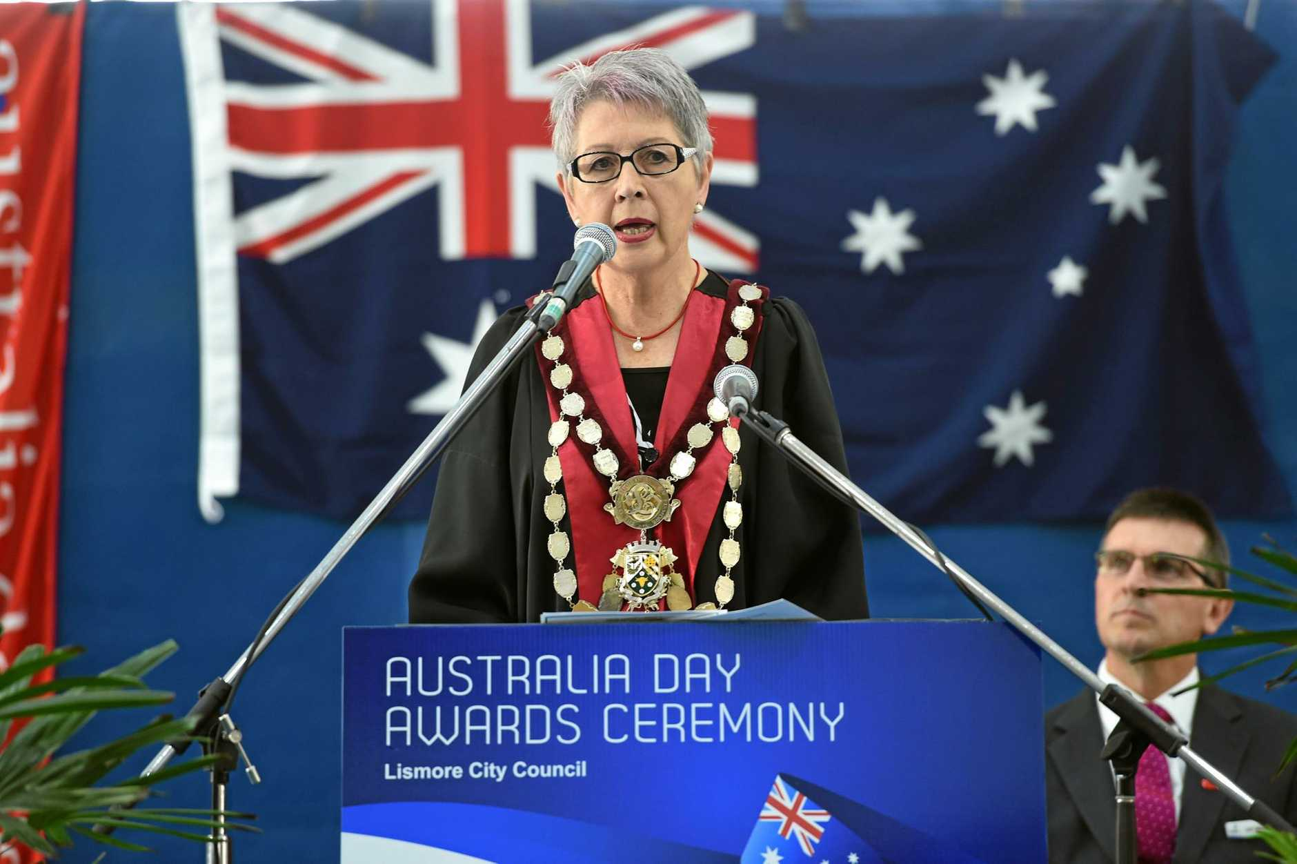 Lismore Mayor Jenny Dowel at the Australia Day ceremony at the Goonellabah Aquatic and Sport Centre in Goonellabah. Photo Marc Stapelberg / The Northern Star