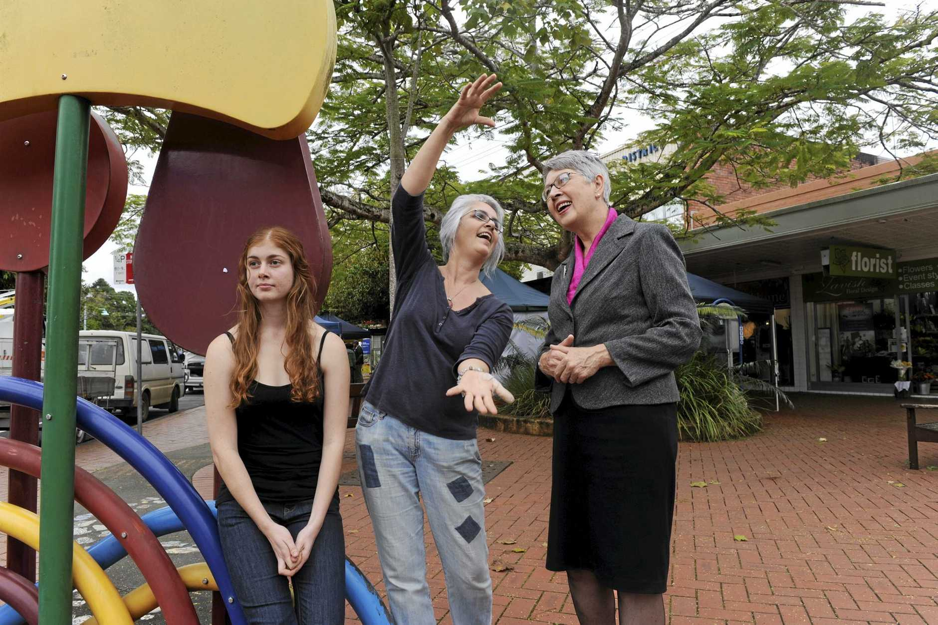 Imagining the future vision of Lismore shirei are Georgia Meredith anf her mother Anca Meredith  of Lismore pictured in Magellan stree talking with Lismore mayor Jenny Dowell.. Photo Jacklyn Wagner / The Northern Star