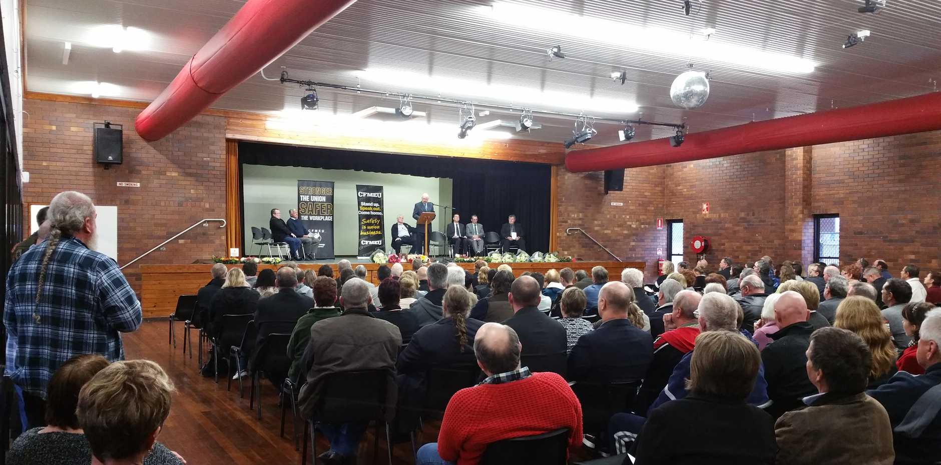 IN TRIBUTE: 250 people packed Kianga Hall on Saturday July 16 to commemorate the 30th anniversary of the Moura No 4 mine disaster.