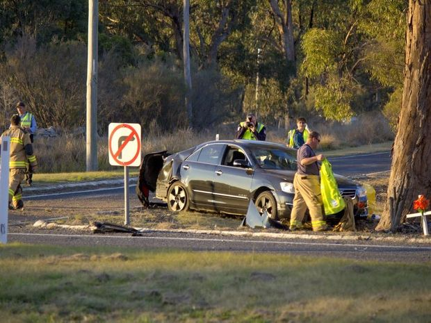 A woman has died after a car and truck collided on Wallangarra Rd near Stanthorpe on Saturday.