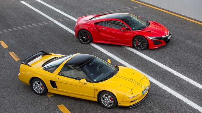 2017 Honda NSX hybrid supercar pictured with the first generation NSX of 1990. Photo: Contributed