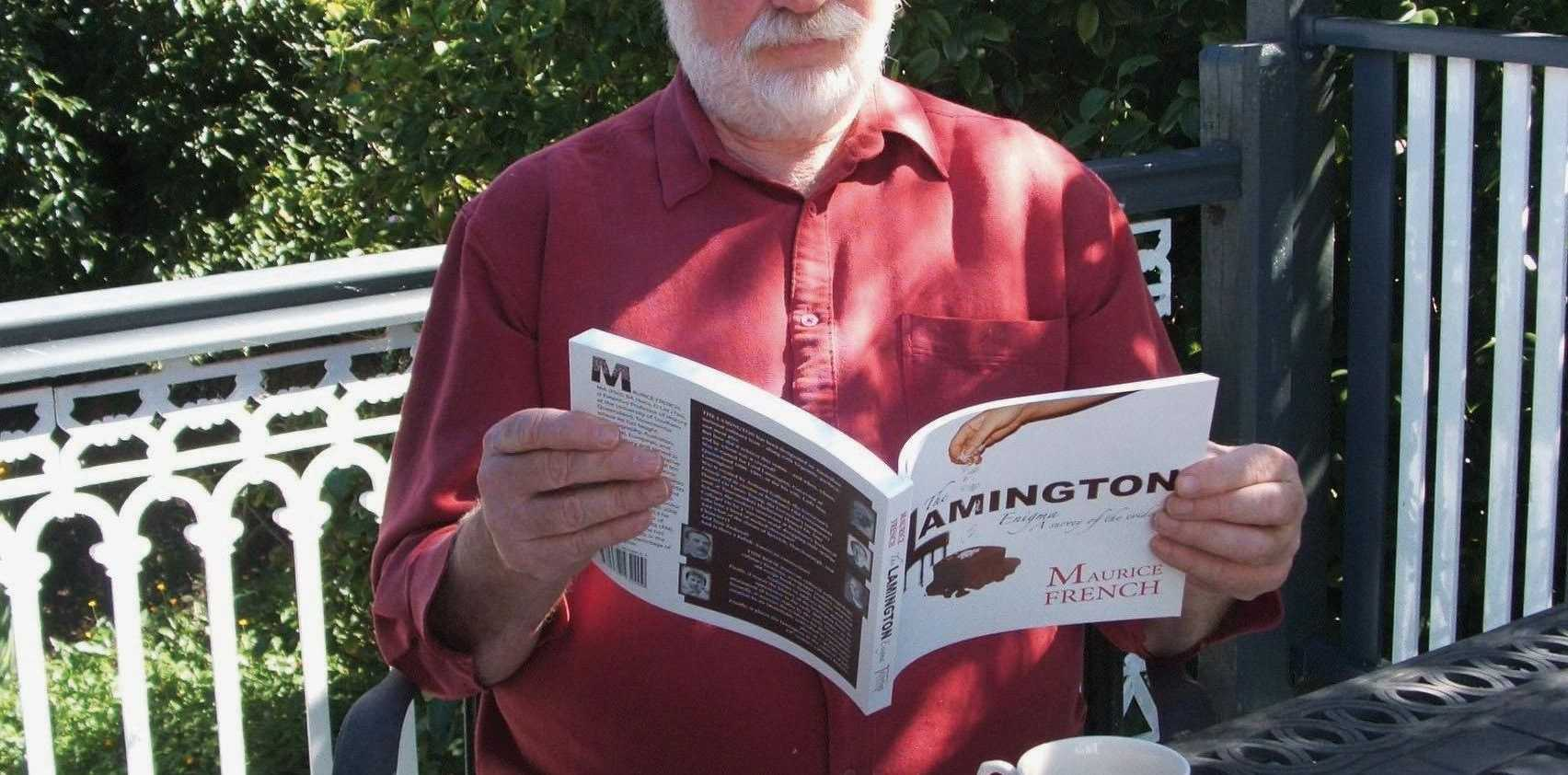 BITE OF HISTORY: Toowoomba Historical Society president Maurice French, with his recent book The Lamington Enigma, which examines whether the lamington was actually invented by a Toowoomba cook for her employer, Lord Lamington, in the late 1800s. Sadly, it was not.
