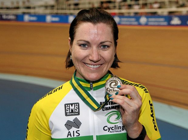 WINNING WAYS: Anna Meares shows off a gold medal from this year's Australian championships.