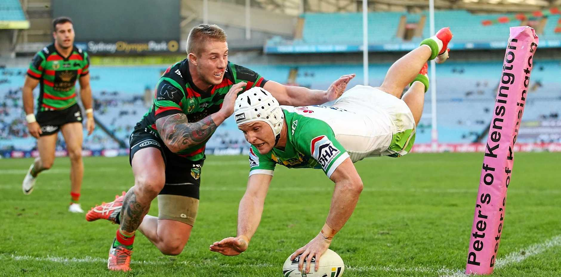 RABBIT KILLER: Jarrod Croker scores one of the Canberra Raiders' 10 tries.
