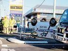 Man taken to hospital, van on roof in crash