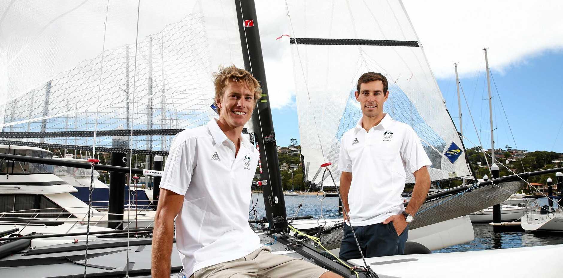 Sailors Will Ryan and Mathew Belcher (right).