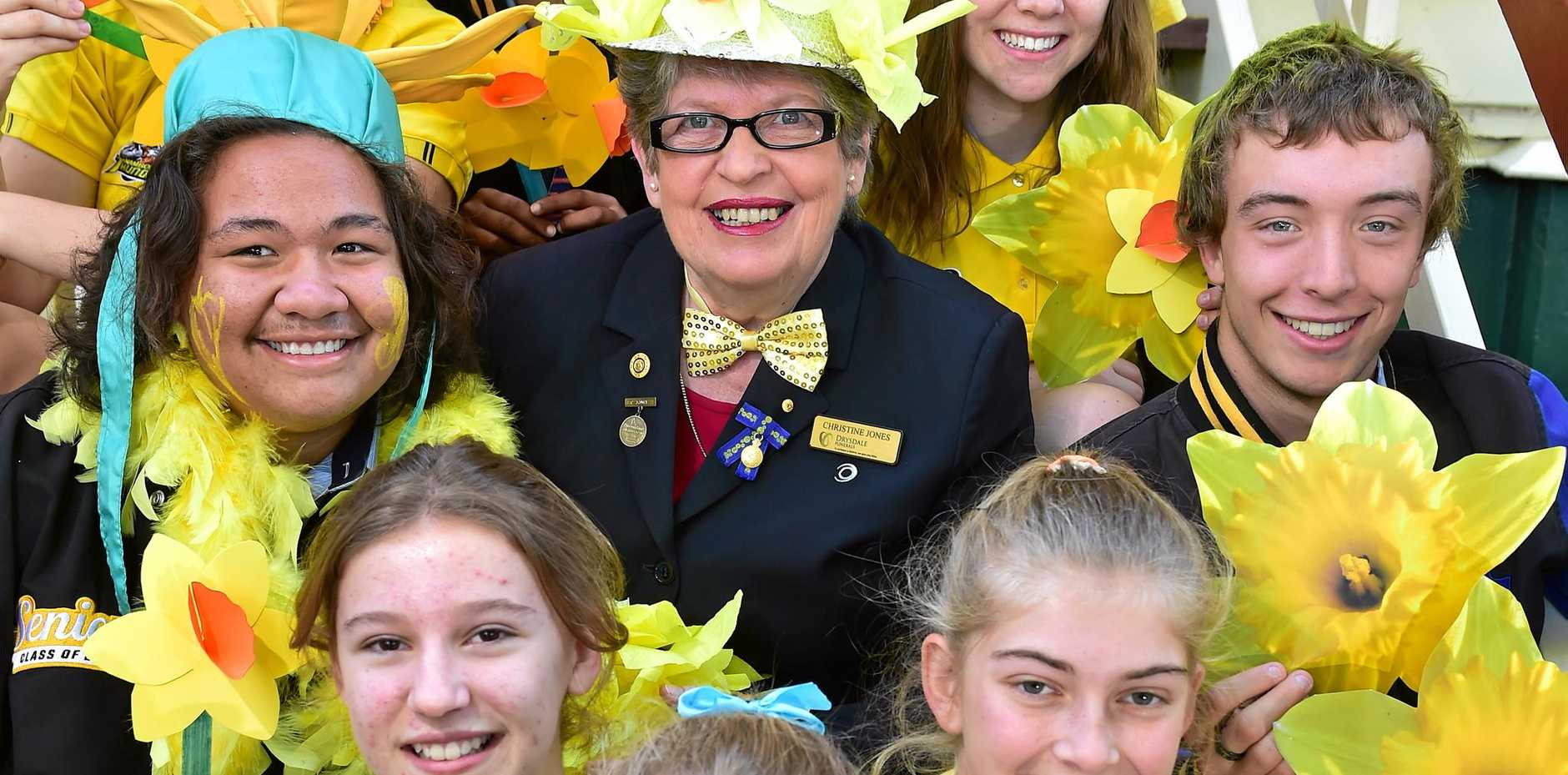 Cancer survivor, Christine Jones, with Nambour High School students.