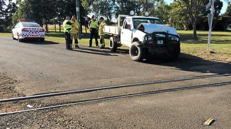 CRASH: A ute has collided with a cane train at Welcome Creek. Photo Mike Knott