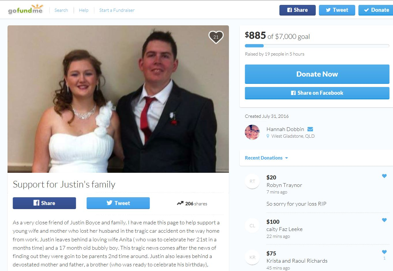 A Go Fund Me page has been made to raise money for Justin Boyce's family.
