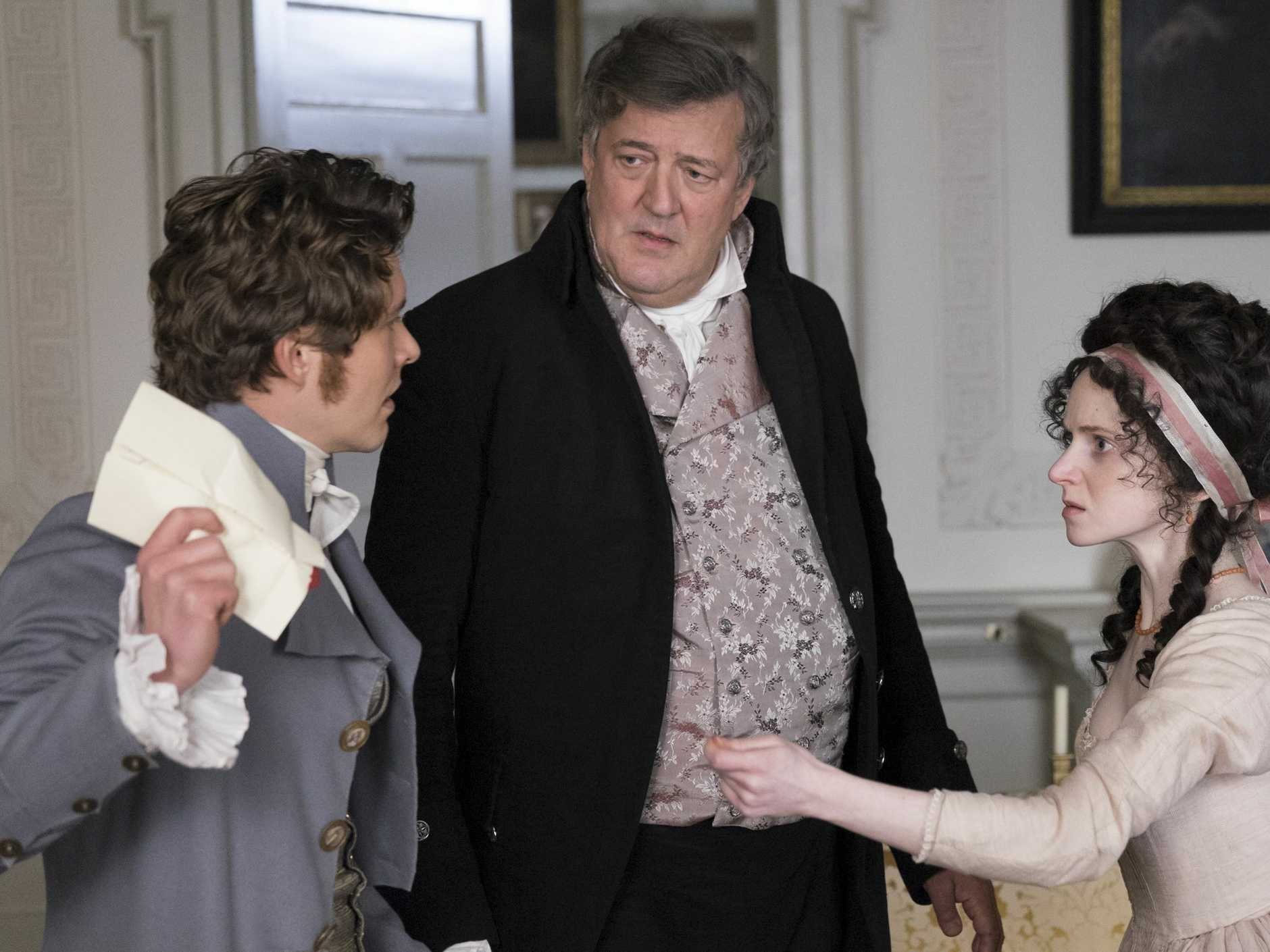 Xavier Samuel, Stephen Fry and Jenn Murray in a scene from the move Love & Friendship.