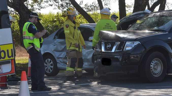 Two-vehicle crash on the Peak Downs Hwy and Bernborough Av, Ooralea.