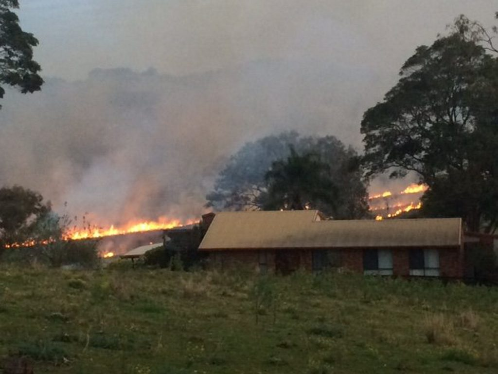 The fire at the back of this Skyline Rd property in Goonellabah remains out of control.
