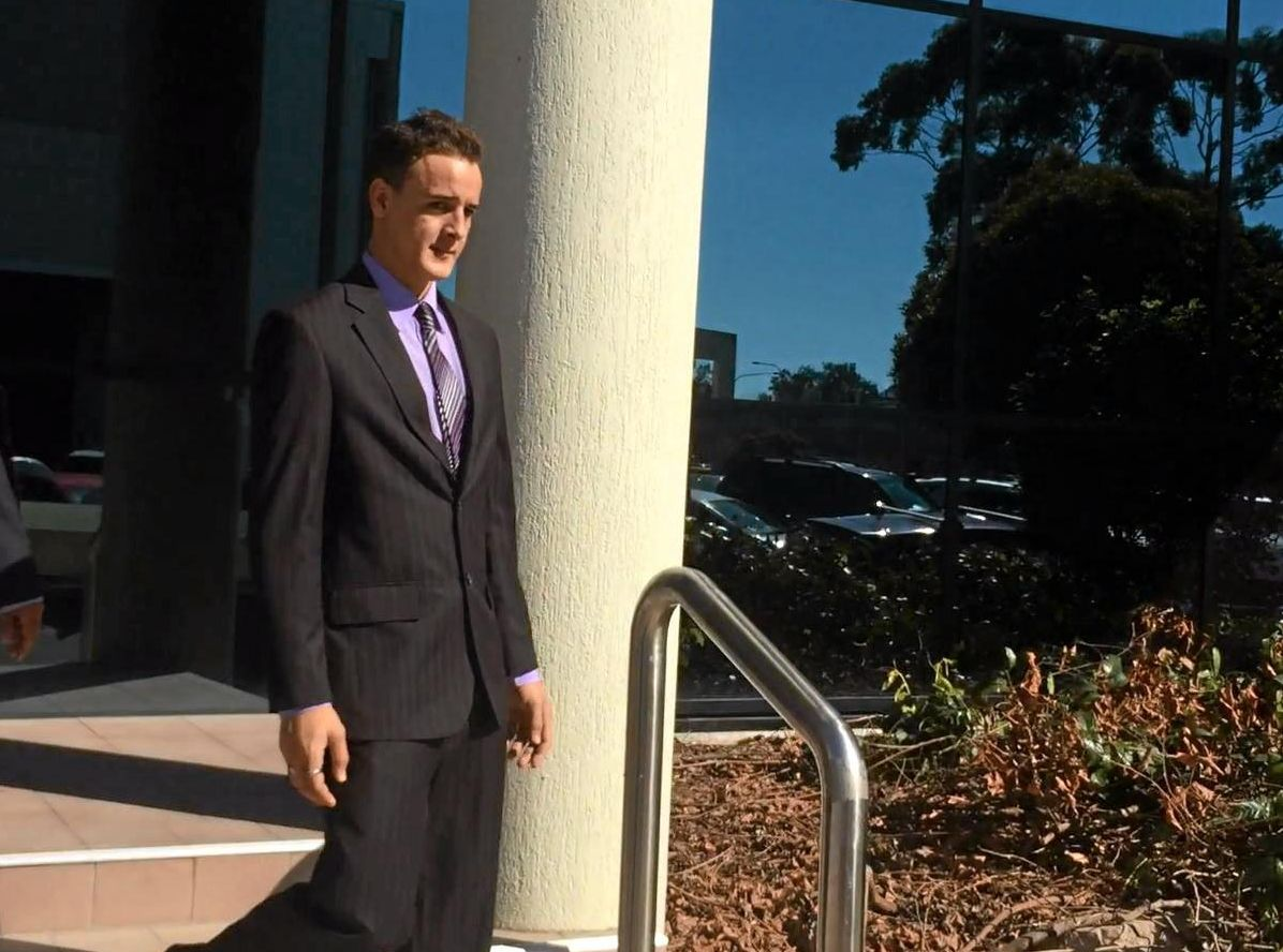 Brodie James Beer, 19, leaves Maroochydore Court House after being sentenced for armed robbery and wilful damage.