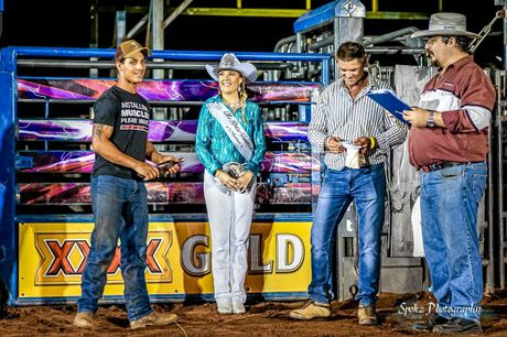 Haider Alhasnawi (left) accepting a Junior Bull Rider award at the Noonamah Tavern Rodeo Series last year.