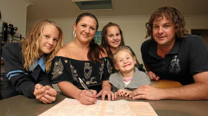 FLASHBACK: Wurtulla family Skye (13), Leanne, Zoe (11), Holly (3) and Todd Williams checking out the 2011 Census form.