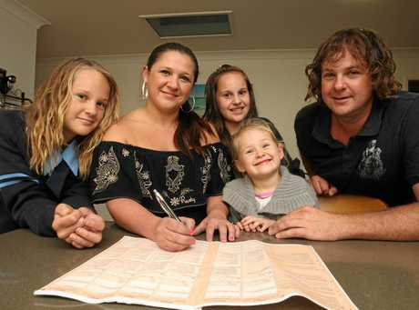 FLASHBACK: Wurtulla family Skye (13), Leanne, Zoe (11), Holly (3) and Todd Williams looking over a Census form back in 2011.