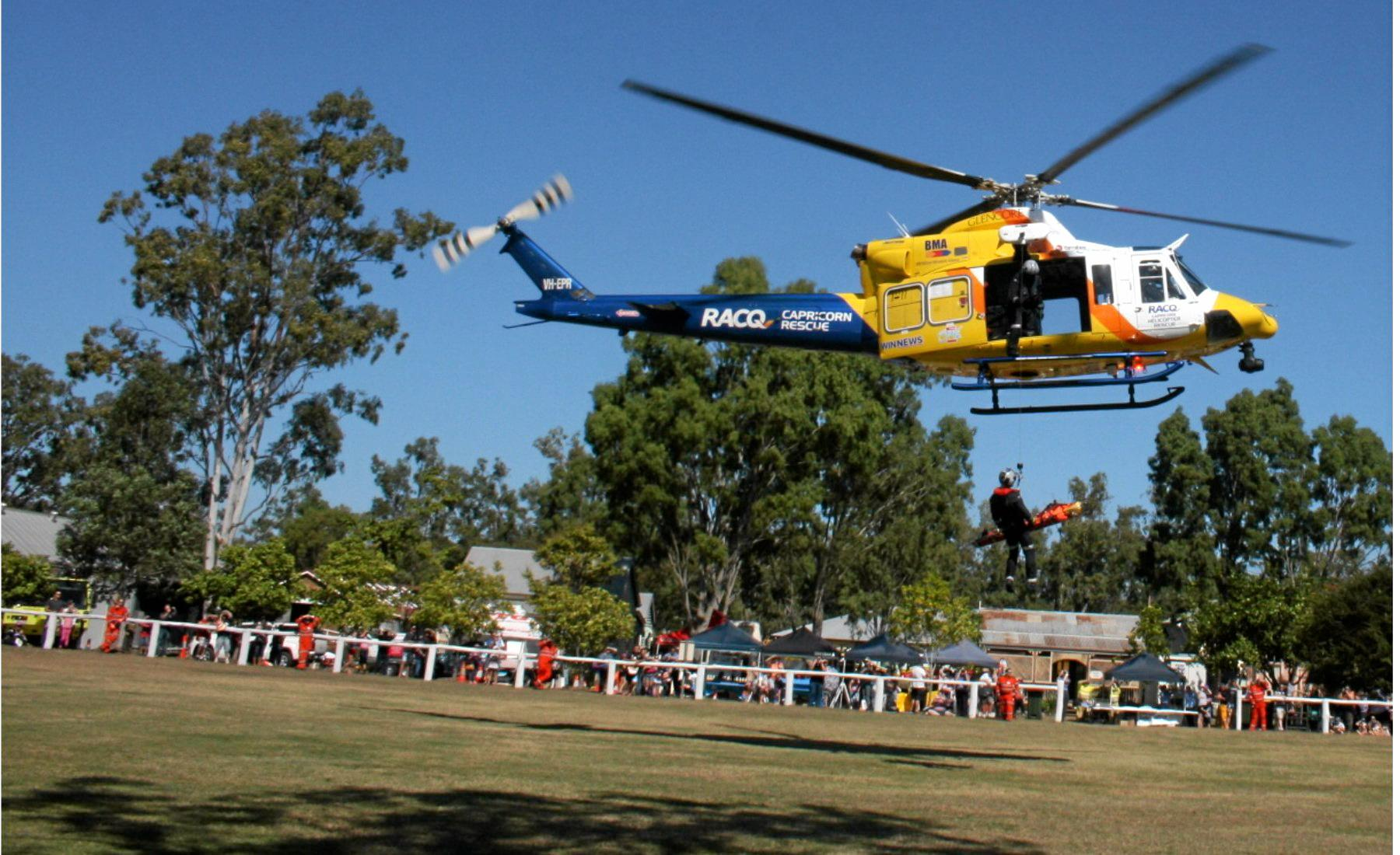The RACQ Capricorn Helicopter Rescue Service display at the Emergency Services Day caught the attention of many at Hertiage Village on Sunday.  Photo Contributed / The Capricorn Coast Mirror