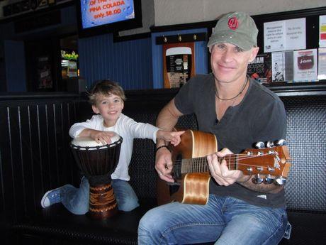 Musican Treva Scobie with his son Caelan Scobie.