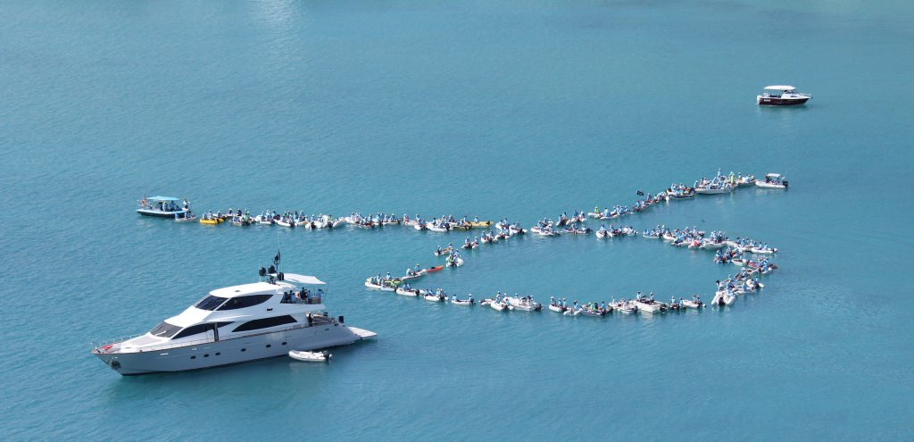 SHAPING CHANGE: SICYC members form the shape of the Prostate Cancer Foundation of Australia logo in a