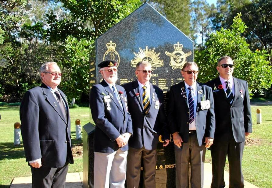 PAYING RESPECT: Pottsville ex-servicemen at Anzac Park will come together on August 18 to mark the 50th anniversary of the Battle of Long Tan.