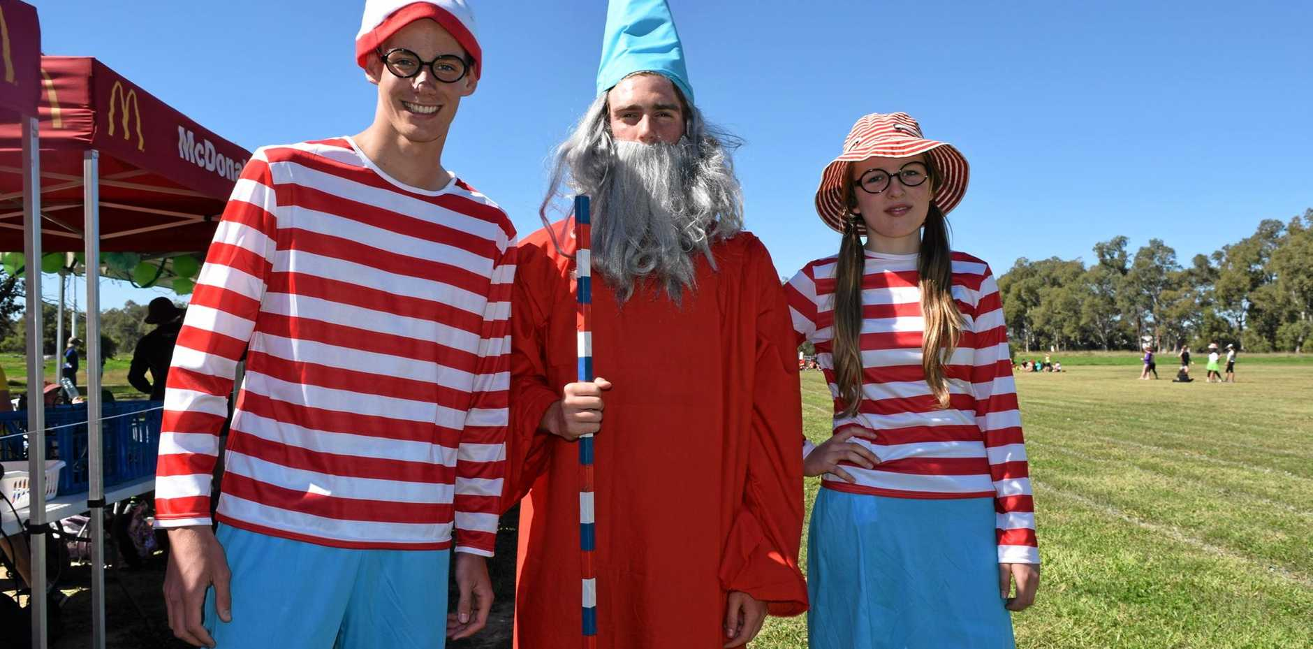 FINDING WALLY: Joshua Persky, Jamie Crawford and Carman Golder dressed up for their sports day.
