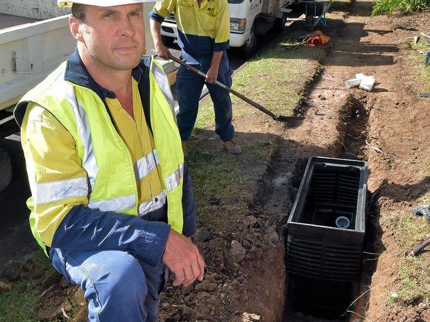 Chris Schuck overlooks the progress of the NBN contruction in Nambour.