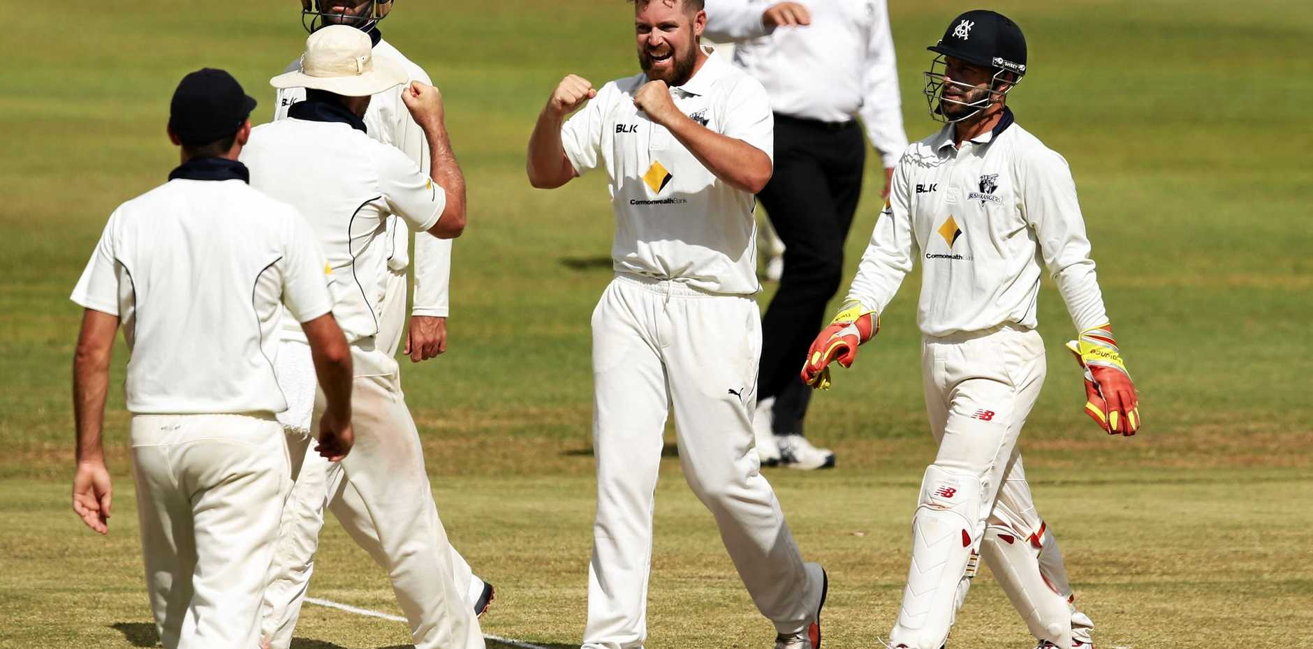 TEST CALL-UP: Jon Holland celebrates a wicket with his Victorian teammates in the Sheffield Shield.