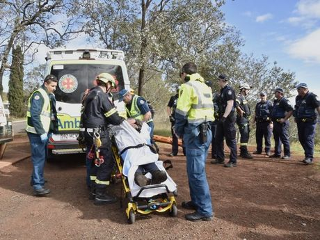Emergency services have rescued Andrew Clay from the side of the Toowoomba Range after he was found alive this morning. He has been on the side of the mountain since Sunday.