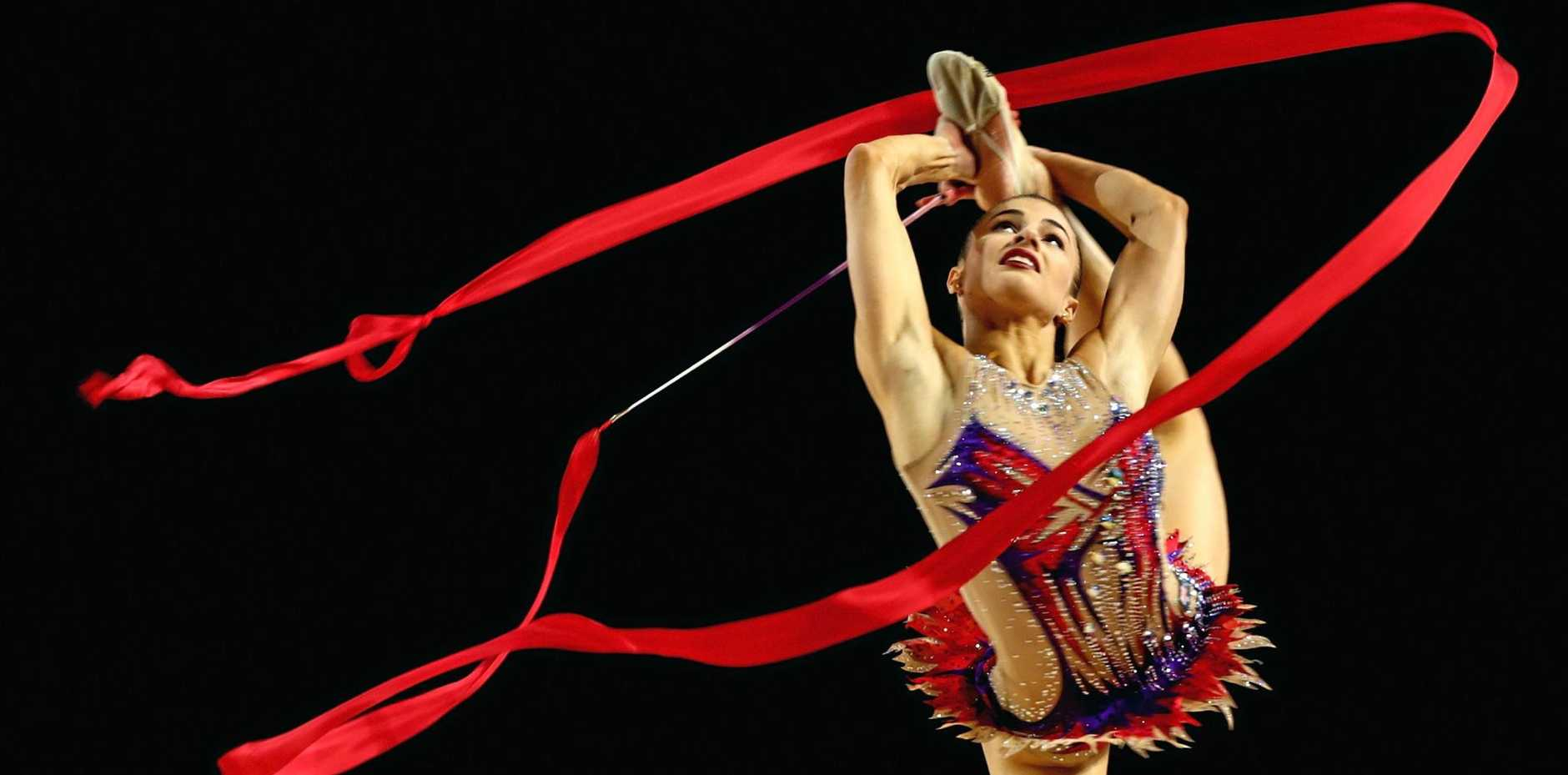 FINE TUNING: Danielle Prince competes in the rhythmic gymnastics at the 2016 national titles.