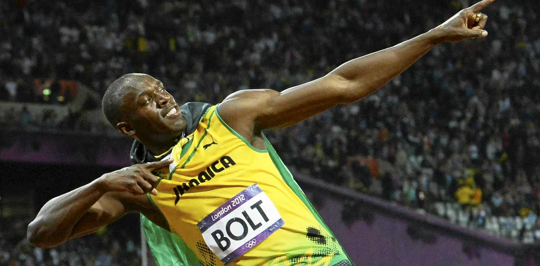 SPEED MACHINE: Jamaica's Usain Bolt in his trademark pose after winning the 100m at the 2012 Olympics.
