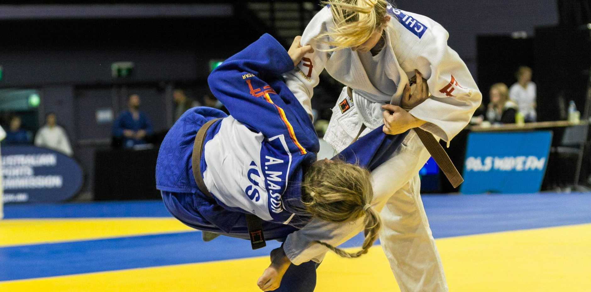 POWER-PACKED: Chloe Rayner in action during competition at the national titles.