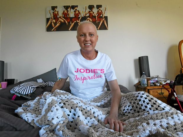 Cancer battler and Jodie's Inspiration founder Jodie McRae at home yesterday.