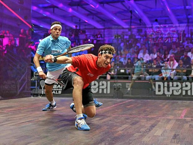 Australia's best male squash player Cameron Pilley powers past Mohamed ElShorbagy in the PSA World Series Finals.