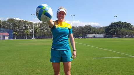 READY FOR RIO: Toowoomba's Gemma Etheridge gets ready to play rugby sevens at the Rio Olympics.