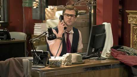 FOR REVIEW AND PREVIEW PURPOSES ONLY. Chris Hemsworth in a scene from the movie Ghostbusters. Supplied by Sony Pictures.