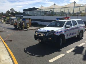 Car crash damages gas pipe on busy road
