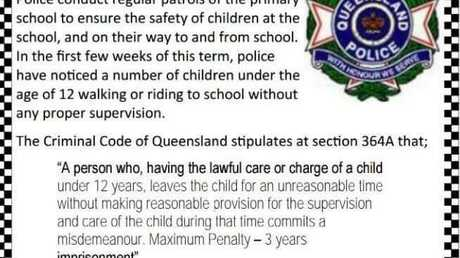 The warning from Miles Police appeared in a school newsletter.