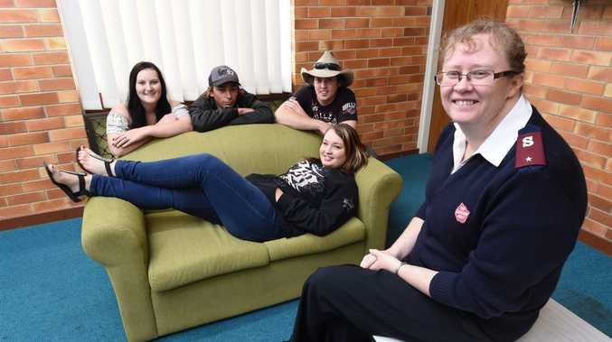The Couch Project, on now, is raising awareness of youth homelessness. Pictured is Salvation Army Maryborough corps officer Lieutenant Adele Williams with Chelsea Lydall and (back-L) Shannon Stewart, Daniel Birch and Brodie Stewart.