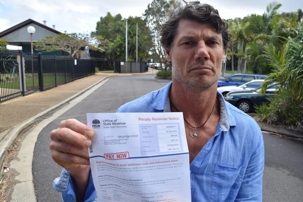 UNFAIR: Ballina dad Glen McIntyre is contesting a $319 fine for dropping his daughter off at school, which he received for idling in the wrong place - for less than a minute.